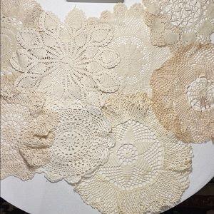 8 Vintage Crochet Cream Doilies Various Sizes